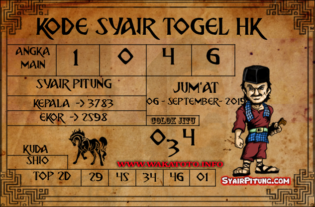 Kode Syair Hongkong 06 September 2019